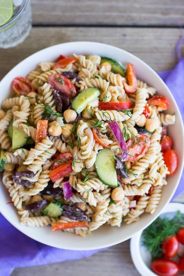 Creamy Tahini Greek Pasta Salad