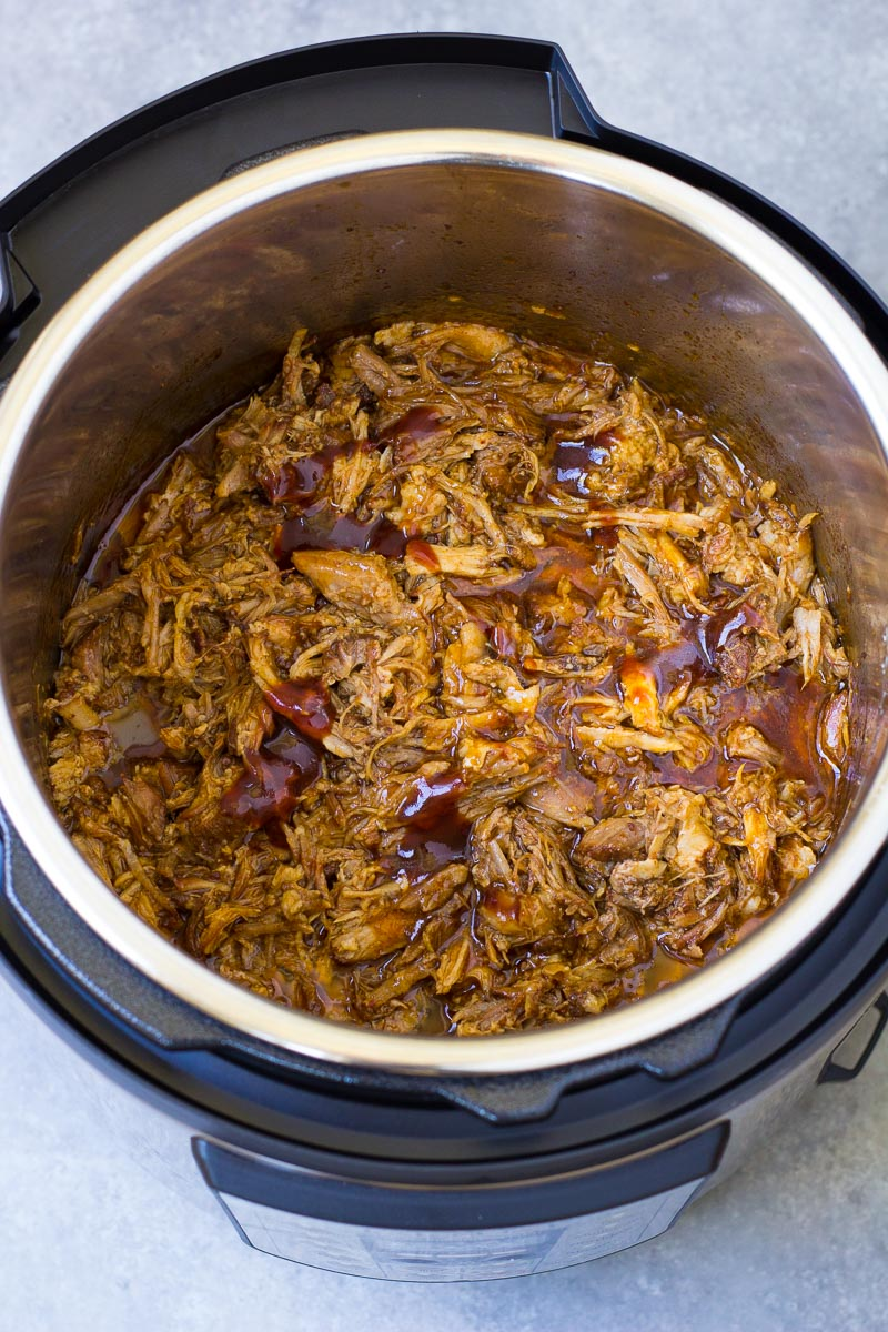 Shredded BBQ pulled pork in an Instant Pot.