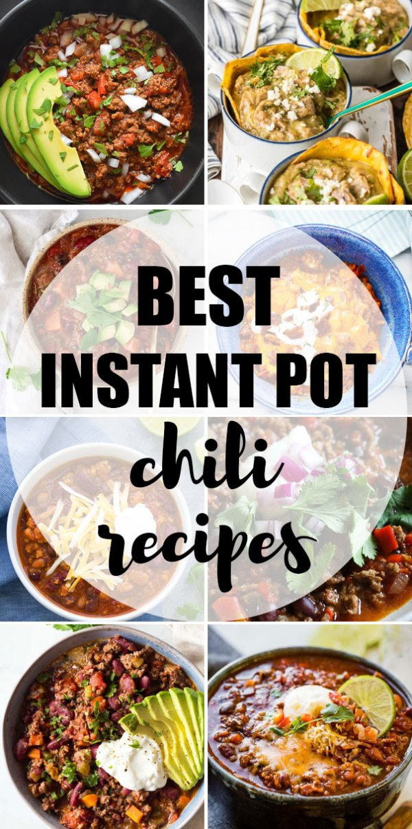 The BEST easy Instant Pot chili recipes! Beef chili, turkey chili, vegetarian chili, vegan chili and more, all made quickly in an electric pressure cooker!