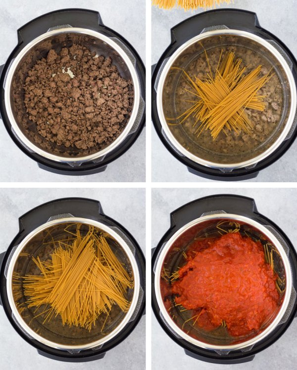 how to place instant pot spaghetti ingredients into the instant pot shown with 4 picture collage