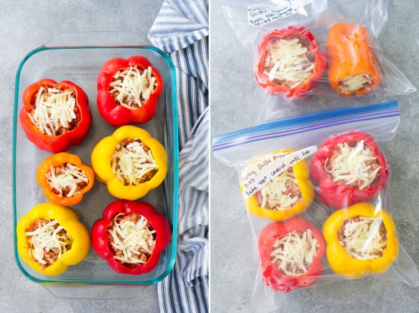 Stuffed bell peppers with rice, ground turkey or beef, tomato sauce and seasonings. These easy Italian stuffed peppers are a healthy meal that you can make ahead and freeze for easy meal prep!