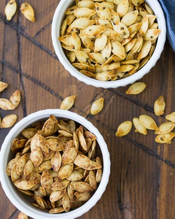Roasted brown sugar pumpkin seeds and parmesan, garlic and herb pumpkin seeds.