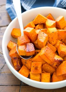 Oven roasted sweet potatoes in a bowl.