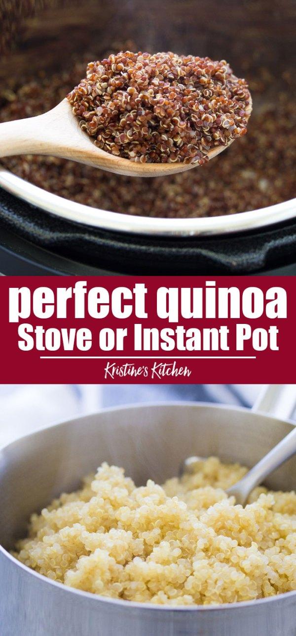 Perfect quinoa, stove top or instant pot.