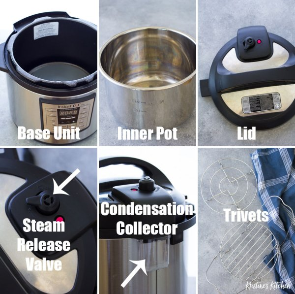 Instant Pot parts and accessories: base unit, inner pot, lid, steam release valve, condensation collector, trivets