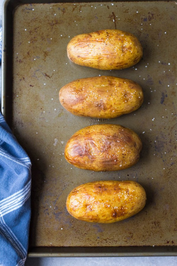 How to make instant pot baked potatoes with crispy skins.