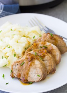 Instant Pot pork tenderloin with honey garlic sauce and mashed potatoes.