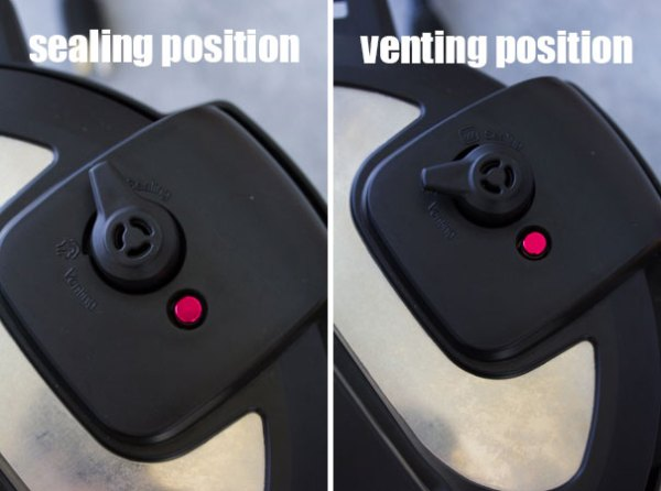 Instant Pot steam release valve in sealing position and venting position.