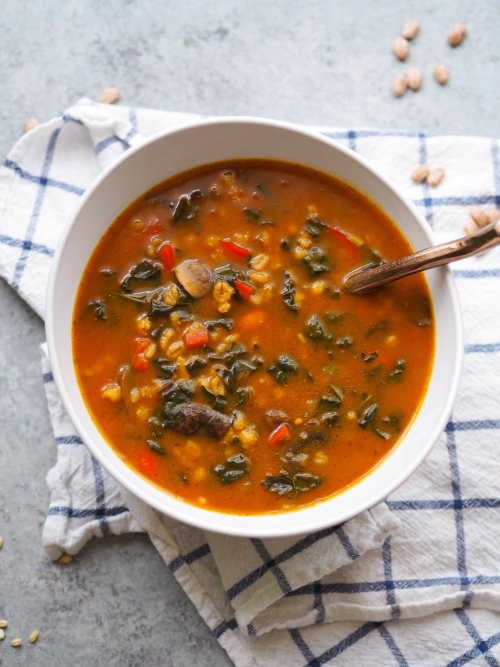 Instant Pot Vegan Mushroom Barley Soup with Pumpkin