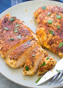 Baked chicken breasts, sliced.