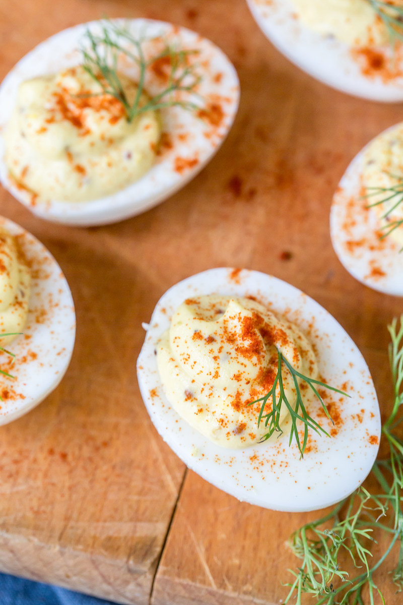 close up of deviled eggs