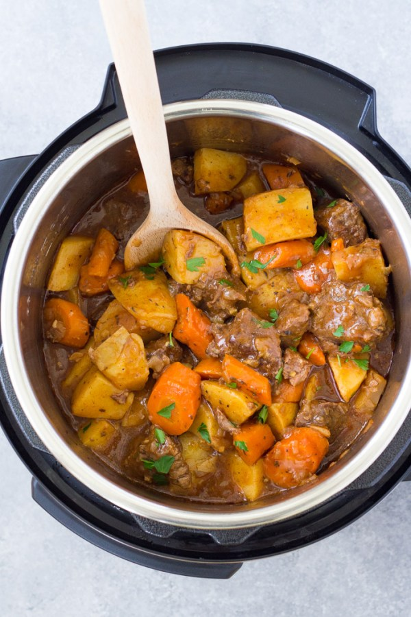 Homemade pressure cooker beef stew in an Instant Pot.