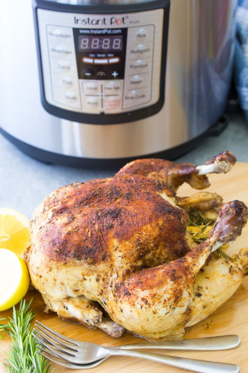 How to cook a whole chicken in an Instant Pot. Perfect pressure cooker roast chicken recipe.