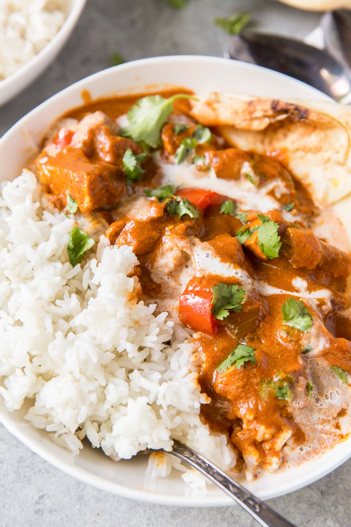 bowl with butter chicken with drizzle of coconut milk, served with rice