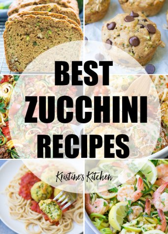 Collage of zucchini recipes photos.