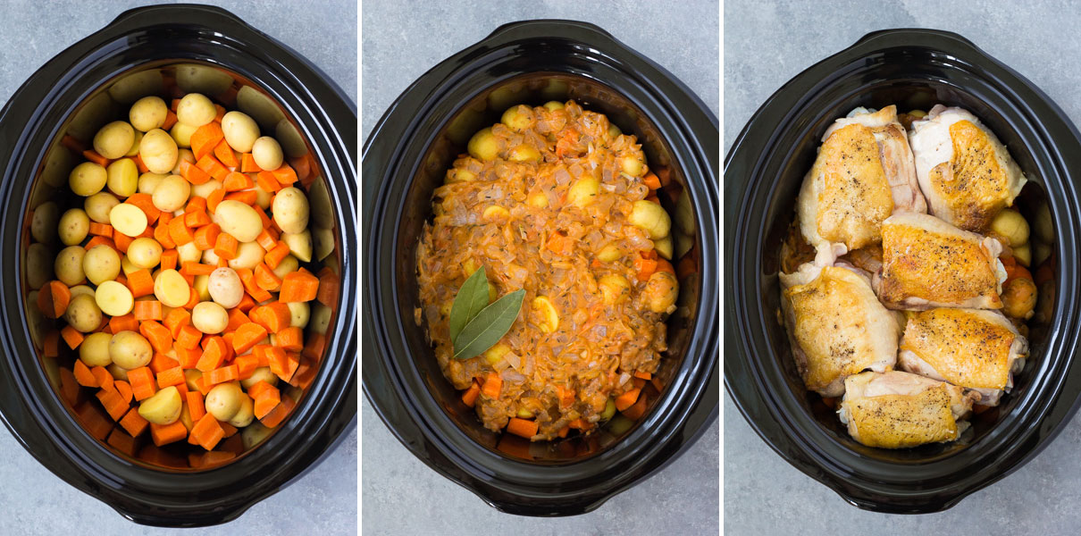 Step by step photos of how to make crockpot chicken with potatoes and carrots.