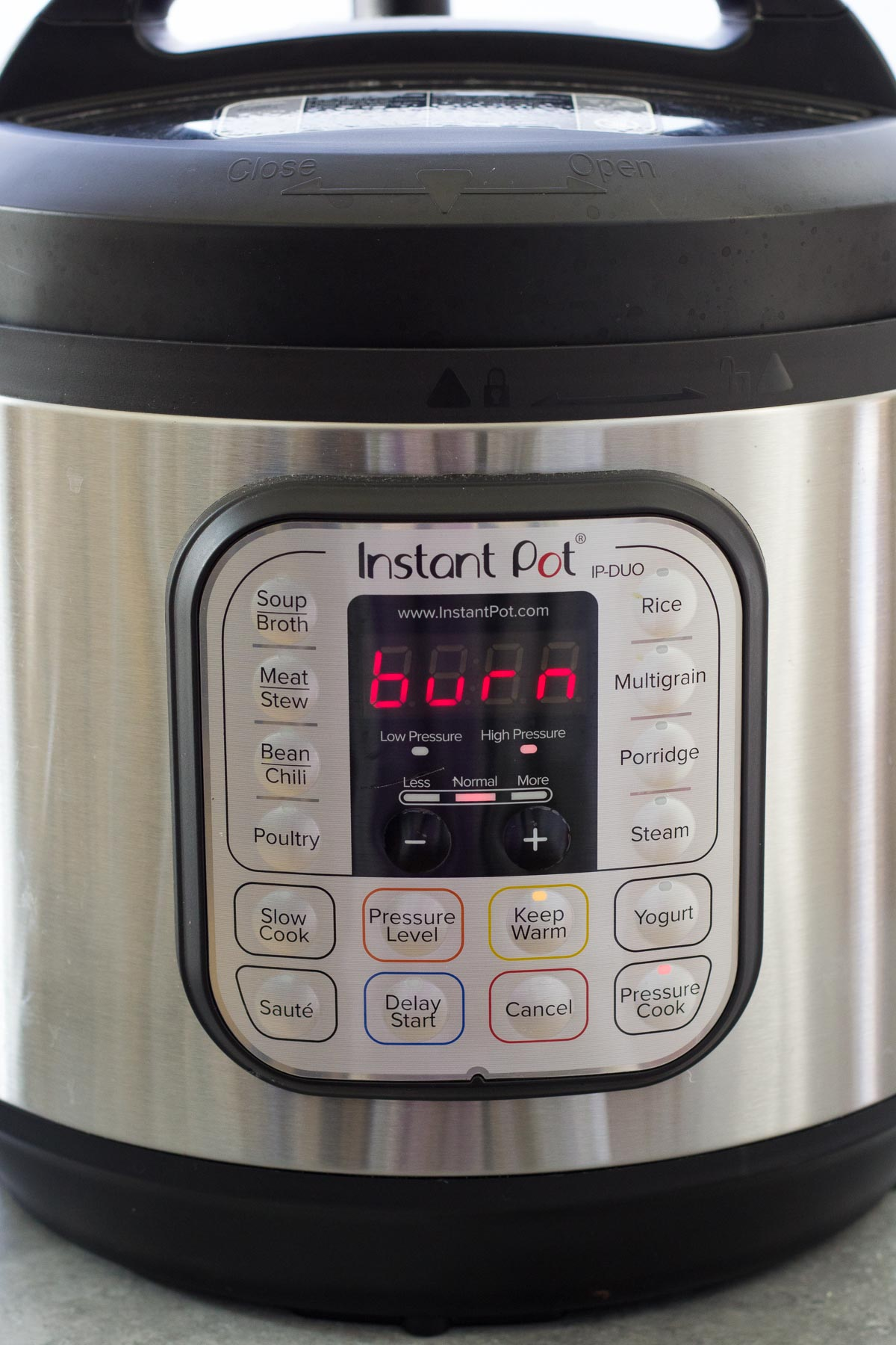 Instant Pot that says burn on the display.