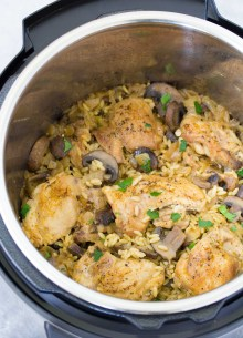 Instant Pot Chicken and Mushrooms after cooking, in an Instant Pot.