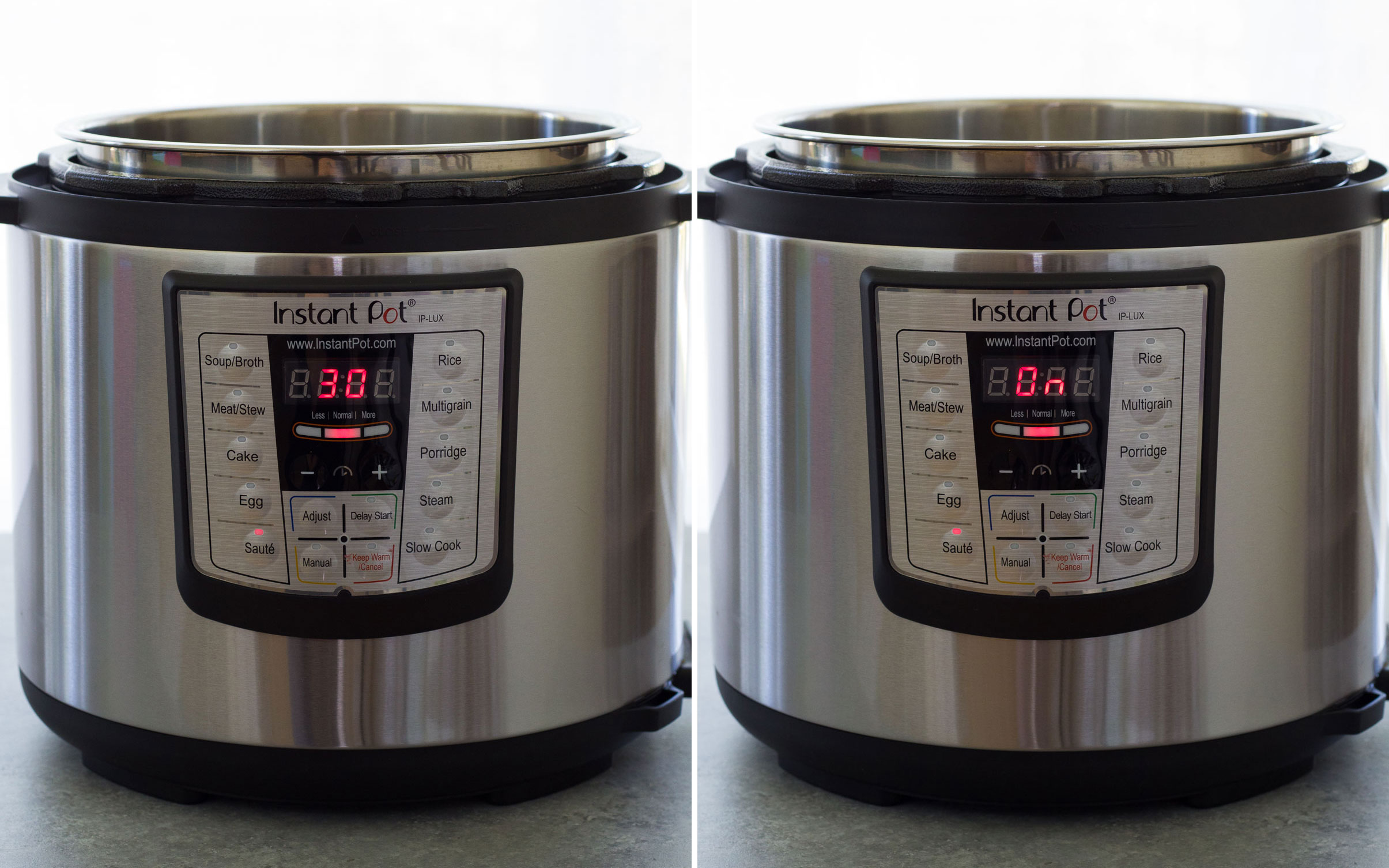 "Collage of two photos: Instant Pot display shows ""30"" and then ""On."""
