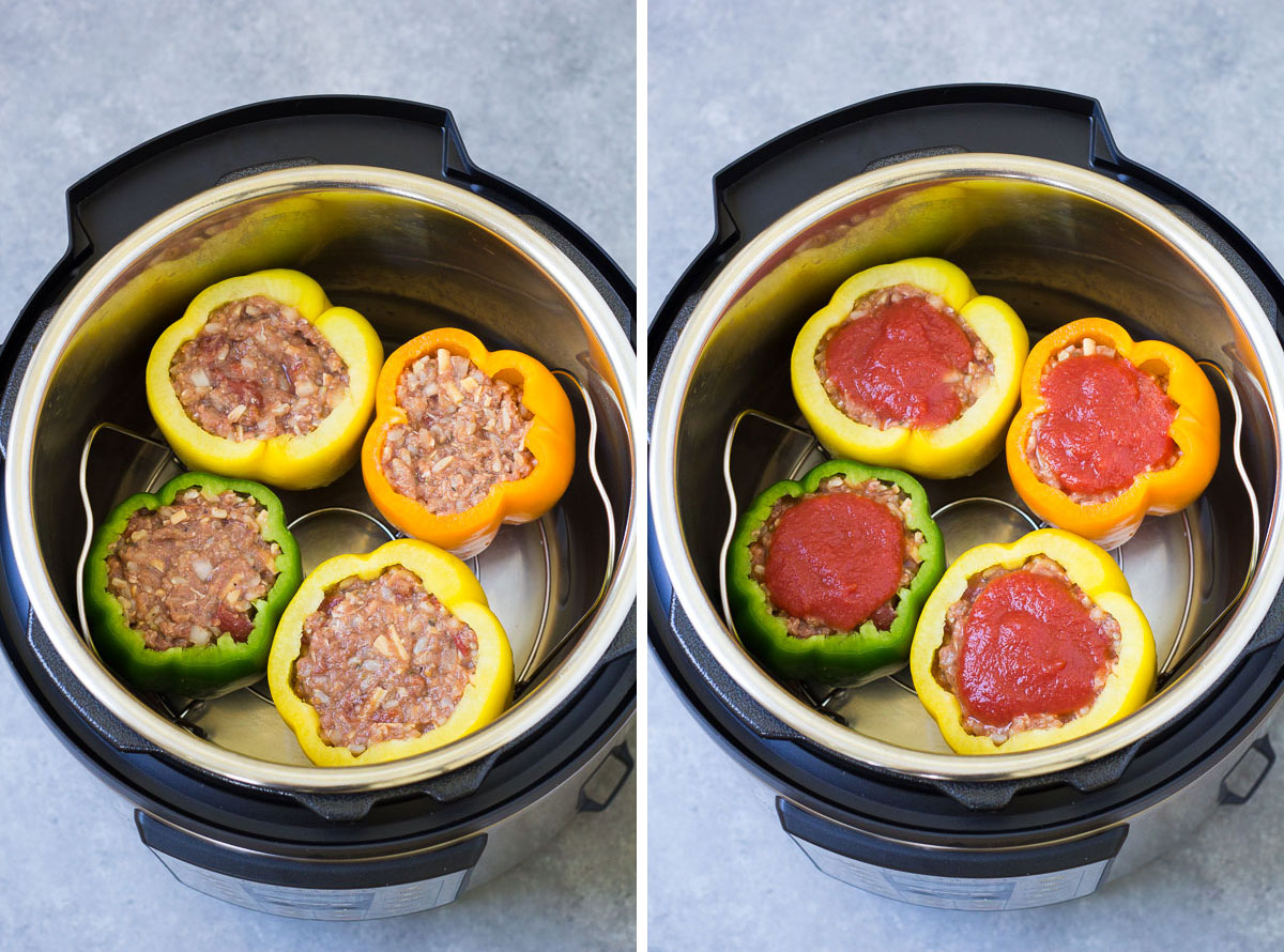 Two photos showing uncooked peppers in an instant pot, with and without tomato sauce on top.