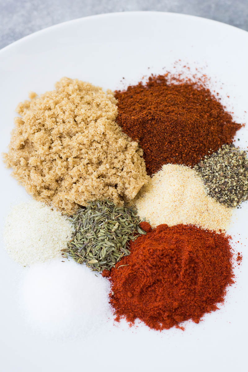 Ingredients for dry rub.