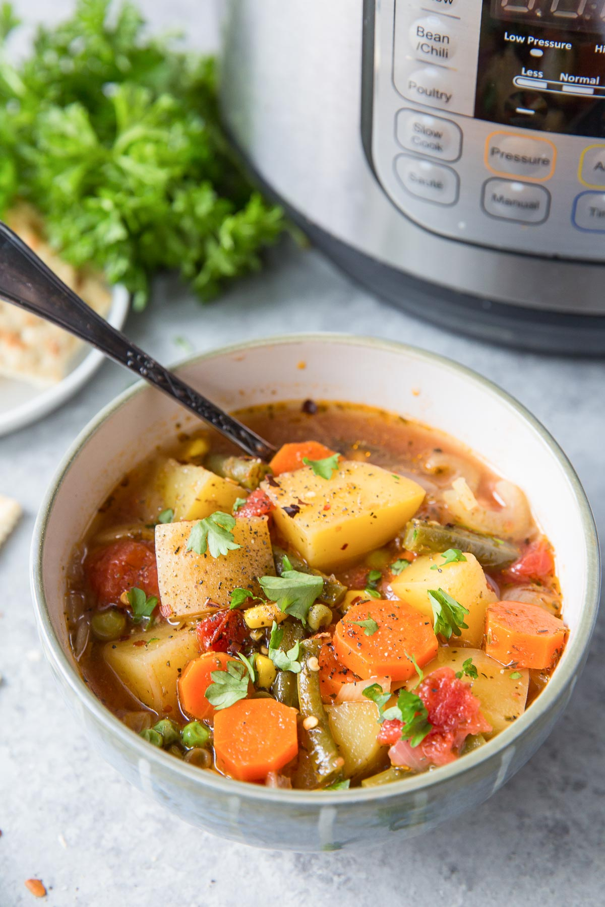 vegetable soup in a bowl with Instant Pot in background