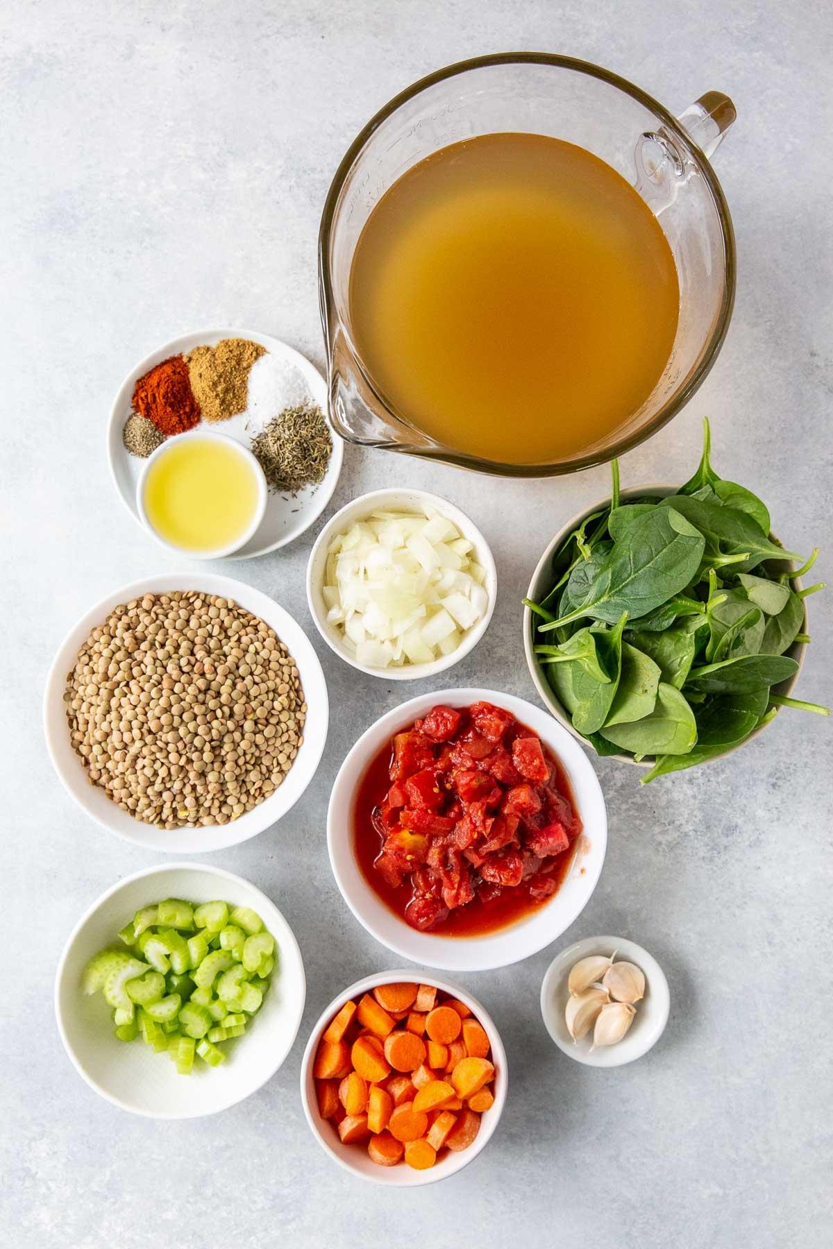 ingredients for making instant pot lentil soup