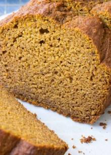 pumpkin bread loaf, sliced