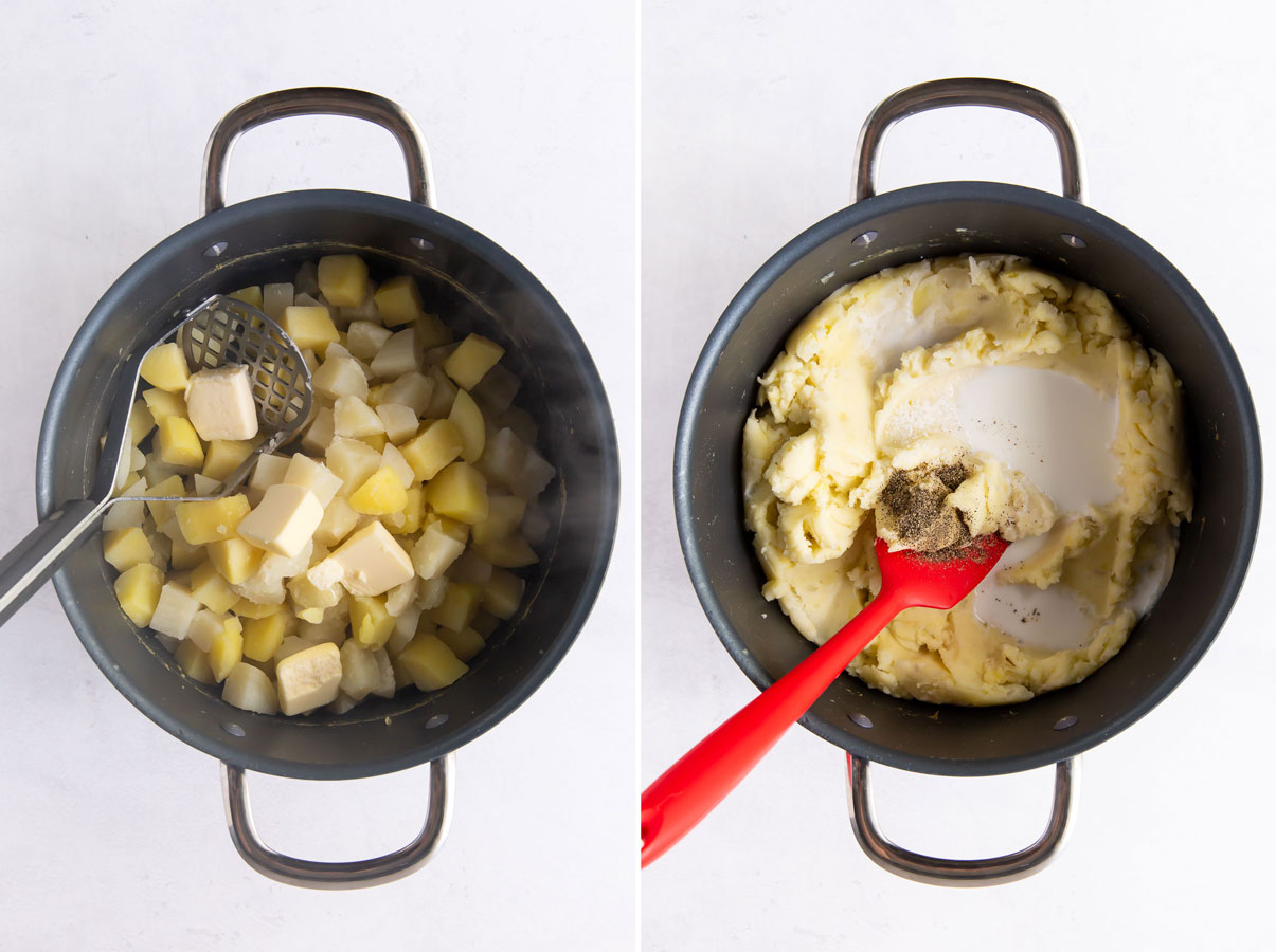 side by side photos: potatoes and butter in pot and mashed potatoes, milk, salt and pepper in pot