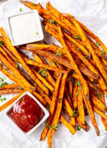 sweet potato fries served with ketchup and ranch dip