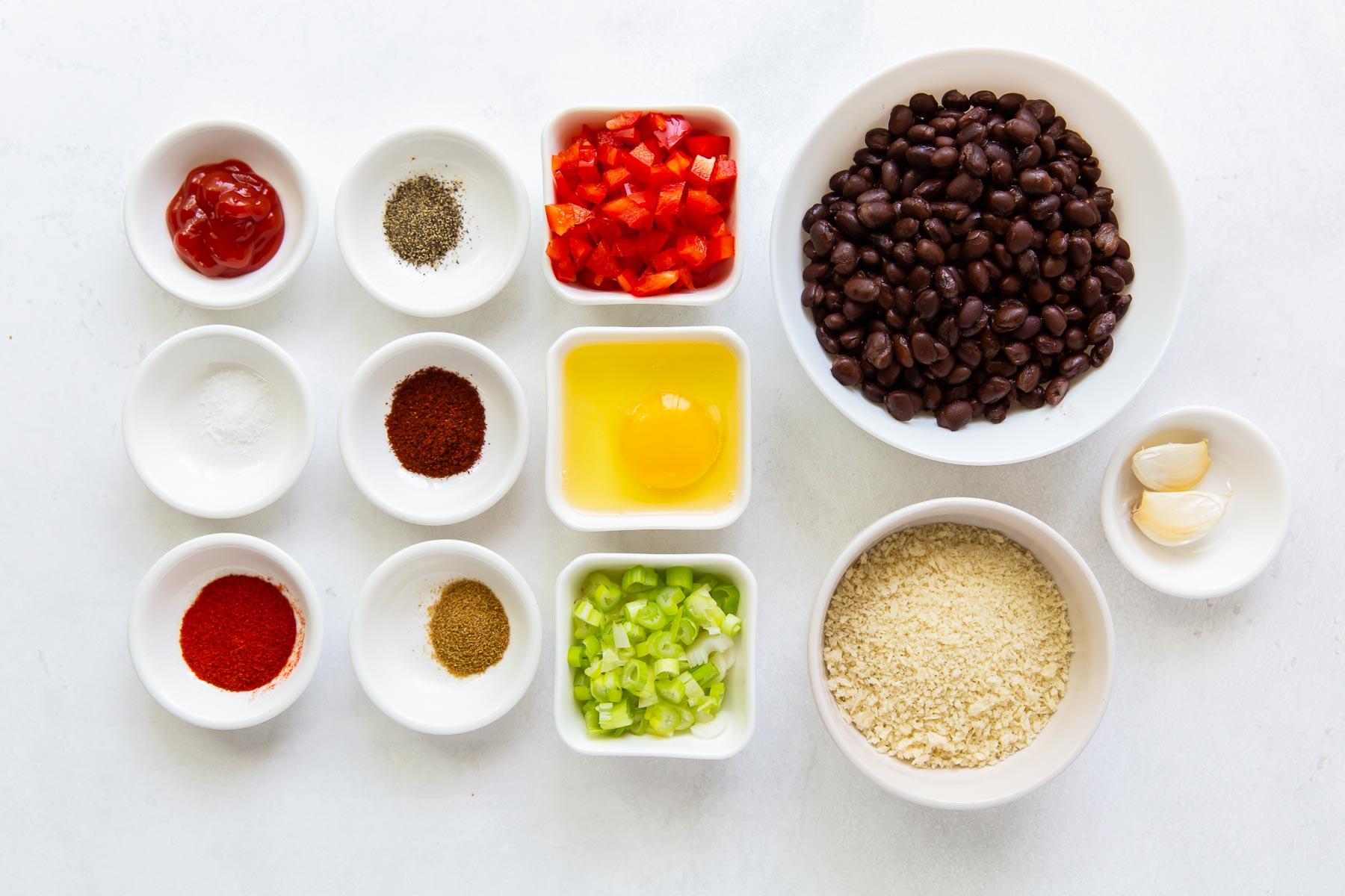 ingredients for black bean burger recipe