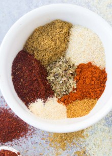 taco seasoning ingredients in a small white bowl