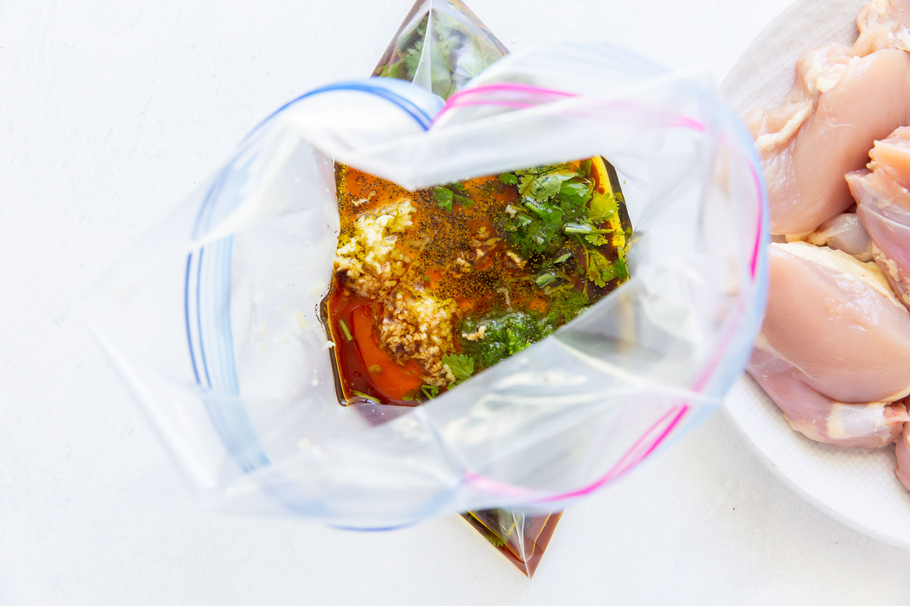 cilantro lime marinade in a large zip-top plastic bag
