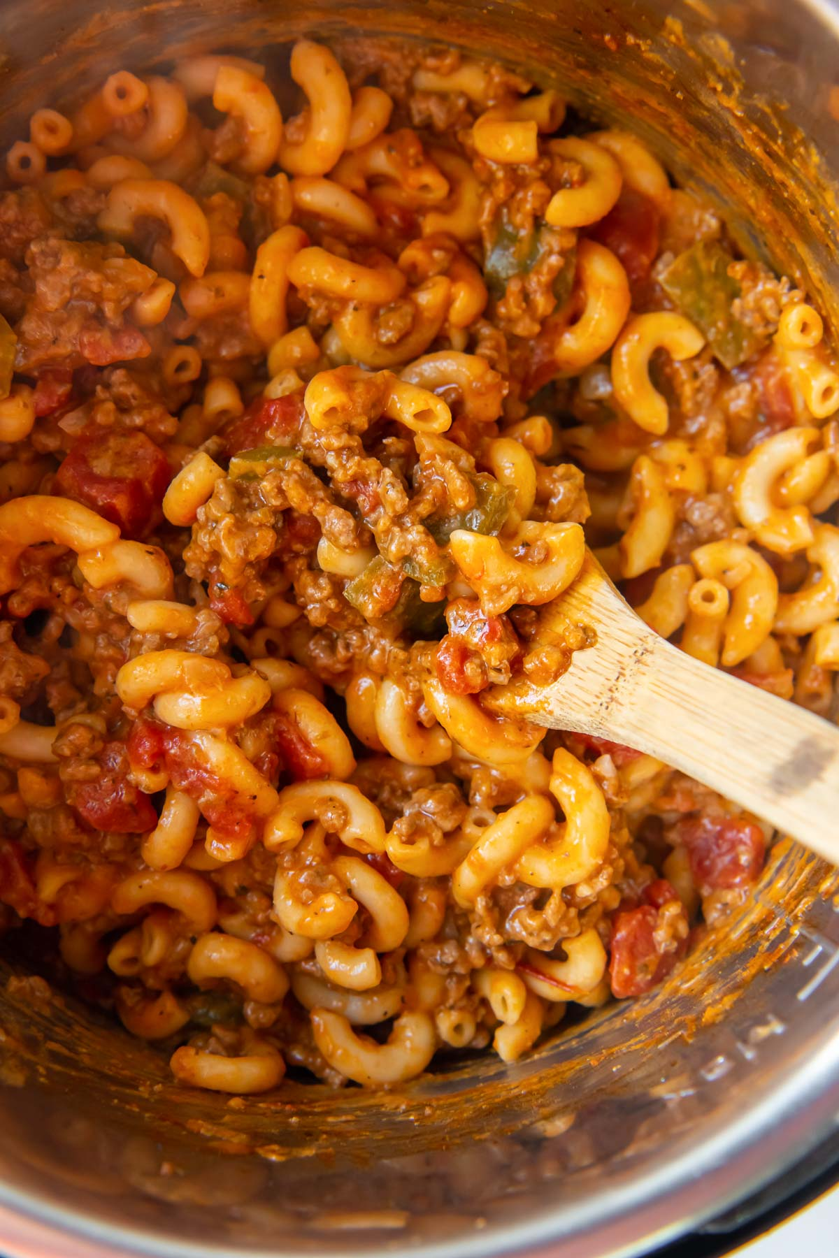 close up of American goulash in instant pot