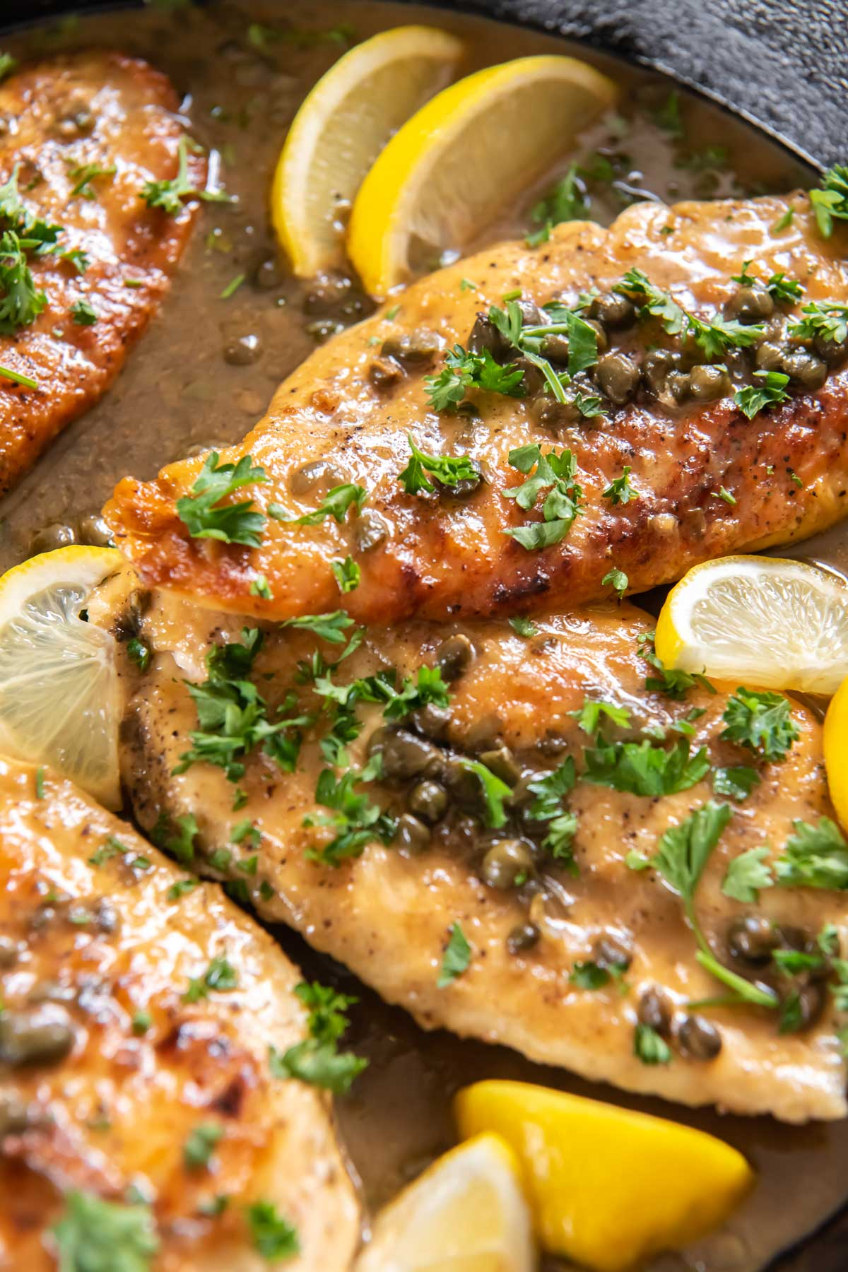 close up of chicken piccata in skillet