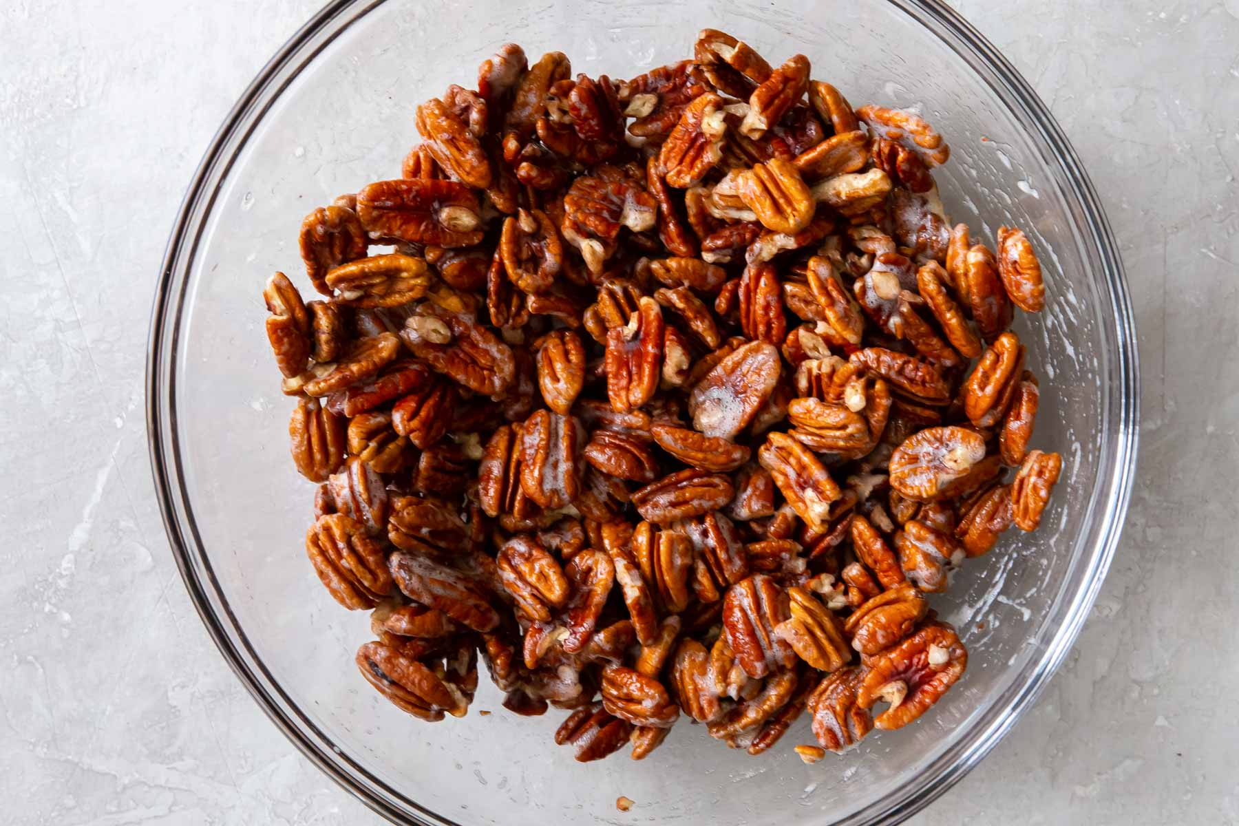 pecans coated with beaten egg white