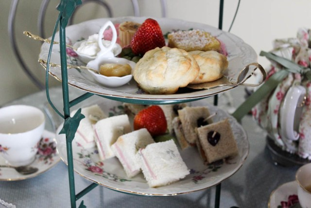 high tea with scones and finger sandwiches