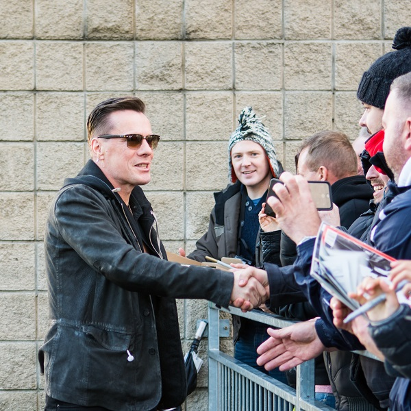 Larry Mullen of U2 meeting fans in Belfast 18 Nov 2015