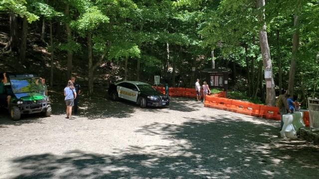 Cops and park rangers patrolling bash bish falls