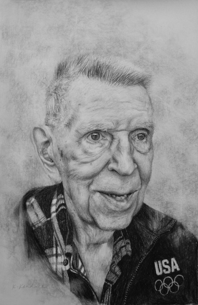 Charcoal portrait, Charcoal Drawing, Old Man, Kristin Kendall Fine Art