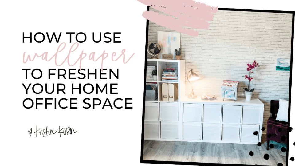 How to hang adhesive peel and stick wallpaper like a pro for a DIY home office renovation without using any messy paste or brushes.