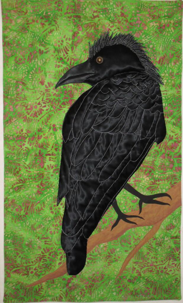 Mohawk topknot on a bold satin crow