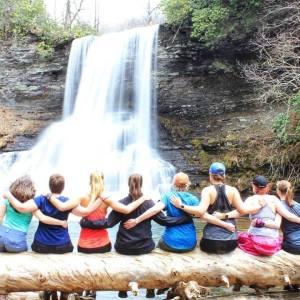 Women at waterfall
