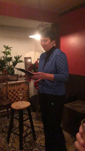 Kristin Oakley reading her speech