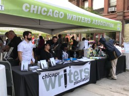 Photo of the Chicago Writers Association tent at Printers Row Lit Fest