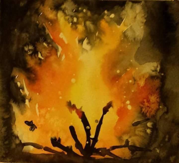 Watercolour bonfire
