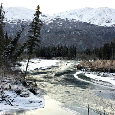 Alaska Riverbank Freezing Over