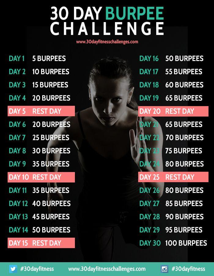 30 Day Burpee Challenge #burpees #fitnesschallenges #30dayfitnesschallenges #30daychallenges