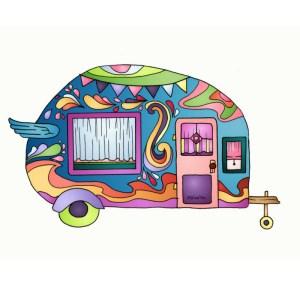 Blue Vintage Camper Van #camper #campervan #vintage #stickers