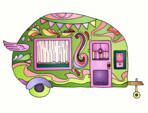 Green & Pink Vintage Camper Van Sticker #camping #stickers #campingstickers